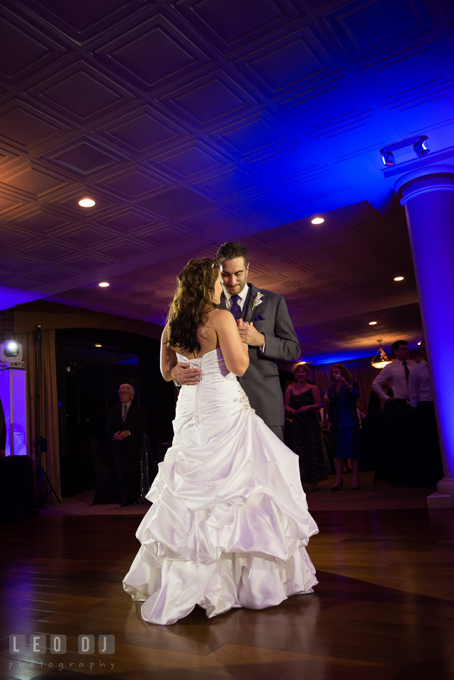 Bride dancing in Groom's arms. Harbour View Events Woodbridge Virginia wedding ceremony and reception photo, by wedding photographers of Leo Dj Photography. http://leodjphoto.com