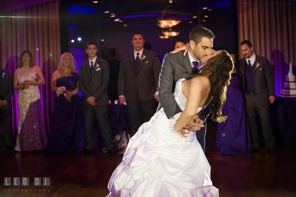 Groom kissing Bride during First Dance. Harbour View Events Woodbridge Virginia wedding ceremony and reception photo, by wedding photographers of Leo Dj Photography. http://leodjphoto.com