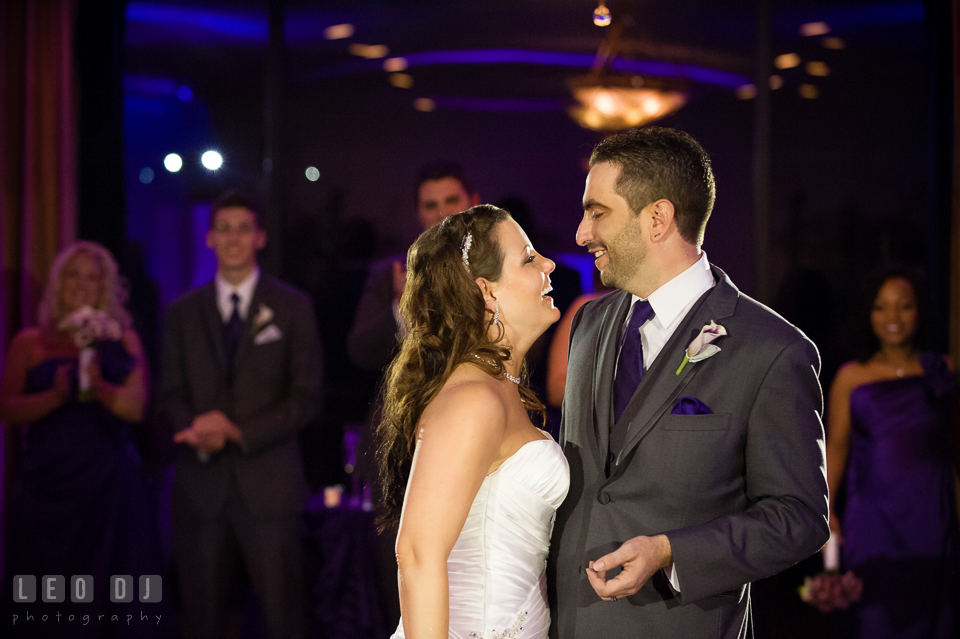 Bride and Groom laughing during First Dance. Harbour View Events Woodbridge Virginia wedding ceremony and reception photo, by wedding photographers of Leo Dj Photography. http://leodjphoto.com