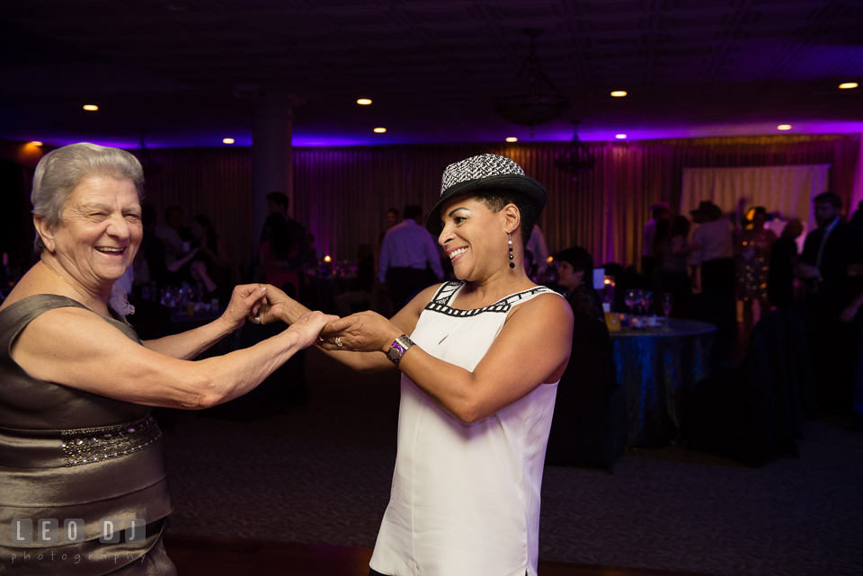 Guests dancing at the wedding reception. Harbour View Events Woodbridge Virginia wedding ceremony and reception photo, by wedding photographers of Leo Dj Photography. http://leodjphoto.com