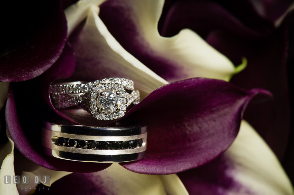 The engagement ring and wedding bands. Harbour View Events Woodbridge Virginia wedding ceremony and reception photo, by wedding photographers of Leo Dj Photography. http://leodjphoto.com
