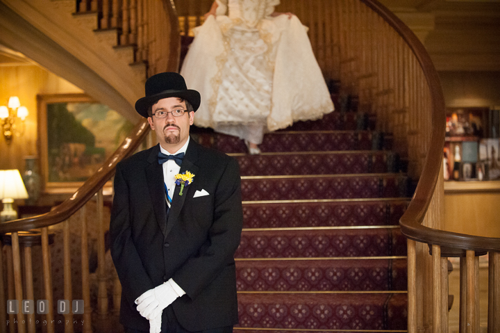 Groom waiting for Bride during for their first glance. Baltimore Maryland Science Center wedding, getting ready photo at Royal Sonesta Harbor Court hotel, by wedding photographers of Leo Dj Photography. http://leodjphoto.com