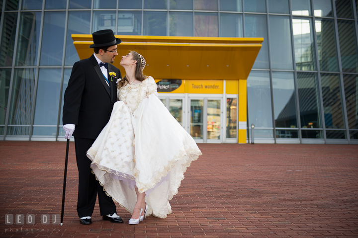 Bride and Groom almost kissed. Baltimore Maryland Science Center wedding reception and ceremony photo, by wedding photographers of Leo Dj Photography. http://leodjphoto.com