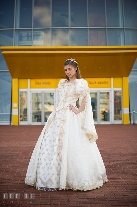 Full body shot of Bride and her gorgeous wedding dress. Baltimore Maryland Science Center wedding reception and ceremony photo, by wedding photographers of Leo Dj Photography. http://leodjphoto.com