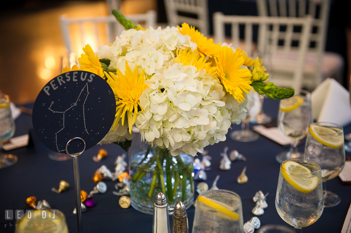 White and yellow flower table centerpiece by Divine Designs and Perseus star constellation table name. Baltimore Maryland Science Center wedding reception and ceremony photo, by wedding photographers of Leo Dj Photography. http://leodjphoto.com