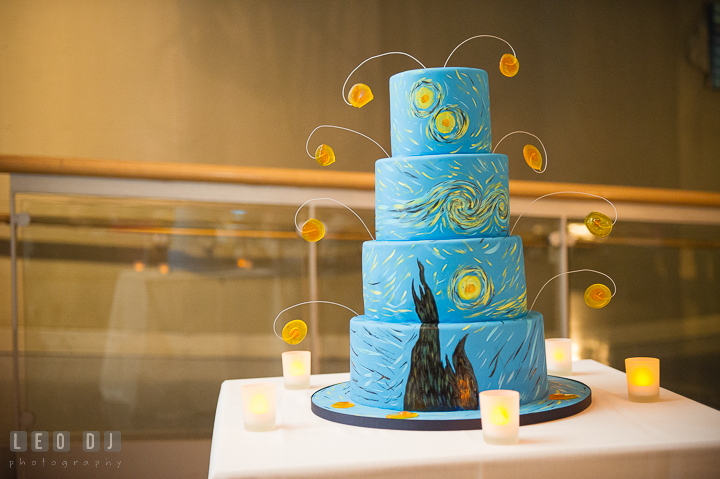 Wedding cake by Sherry's Cakes and Bakes with decoration taken from the Starry Night painting from Vincent van Gogh. Baltimore Maryland Science Center wedding reception and ceremony photo, by wedding photographers of Leo Dj Photography. http://leodjphoto.com