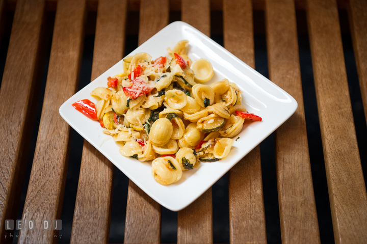 A plate of pasta salad from Aramark catering. Baltimore Maryland Science Center wedding reception and ceremony photo, by wedding photographers of Leo Dj Photography. http://leodjphoto.com