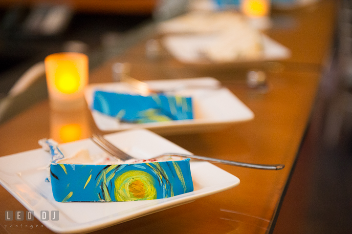 Cake slices with the inspired painting from Vincent van Gogh's Starry Night. Baltimore Maryland Science Center wedding reception and ceremony photo, by wedding photographers of Leo Dj Photography. http://leodjphoto.com