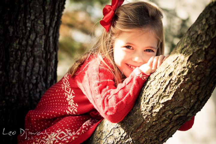 girl with red ribbon and dress, posing on a tree branch. Candid children photographer St Michael Tilghman Island MD