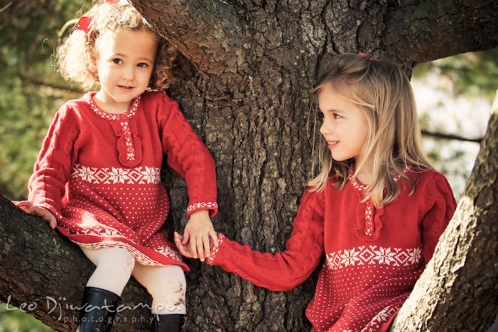 two girls with red dress posing for Christmas card for grandparents, grandma and grandpa. Candid children photographer St Michael Tilghman Island MD