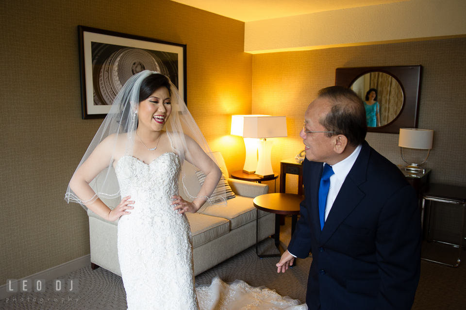 Sheraton Hotel Reston Virginia Bride first look with Father photo by Leo Dj Photography