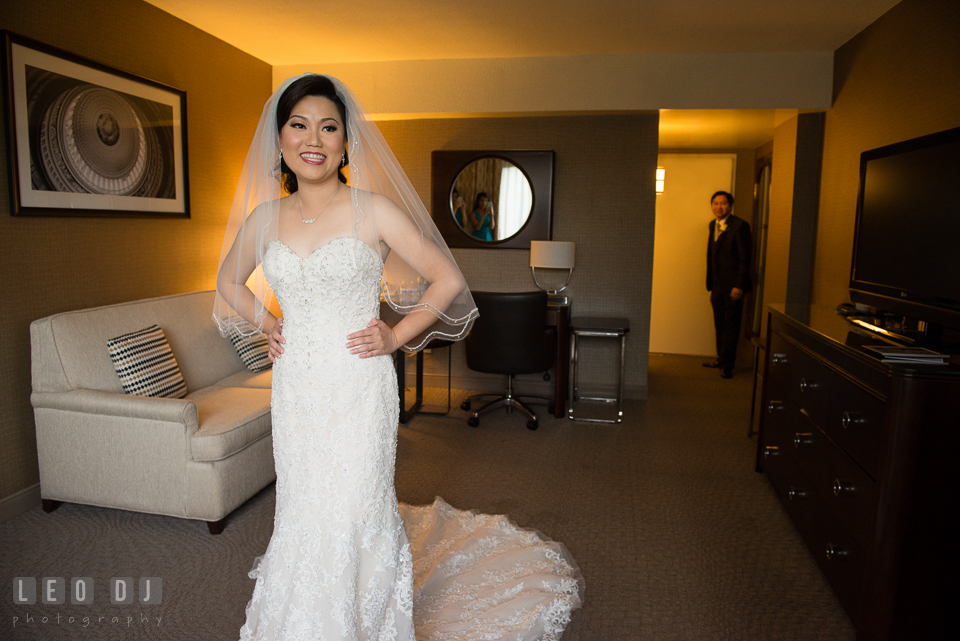 Sheraton Hotel Reston Virginia Bride first look with Groom photo by Leo Dj Photography