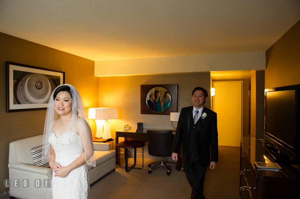 Sheraton Hotel Reston Virginia Bride and Groom's first glance photo by Leo Dj Photography