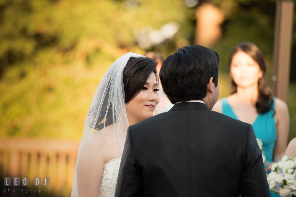 Hidden Creek Country Club Bride reciting vow to Groom photo by Leo Dj Photography
