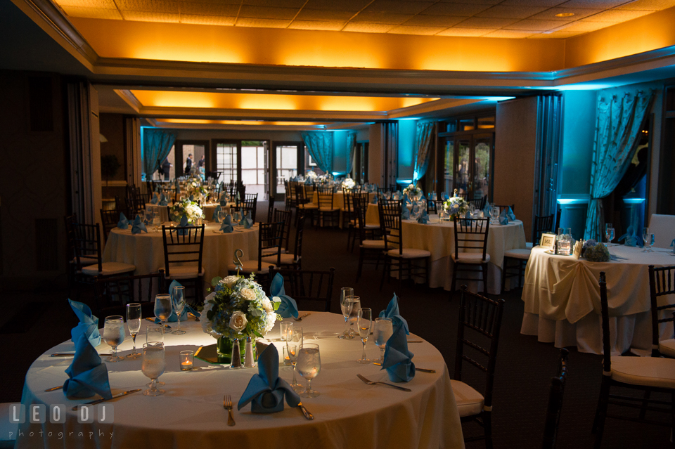 Hidden Creek Country Club ballroom setting with uplighting by A2Z Music Factory photo by Leo Dj Photography