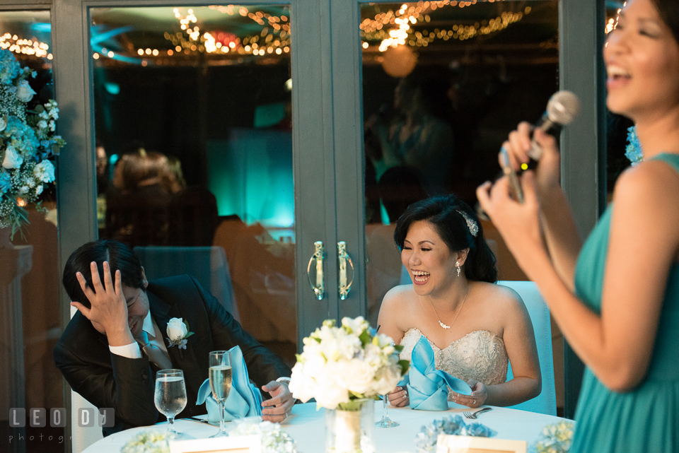 Hidden Creek Country Club Bride and Groom laughing hearing toast speech photo by Leo Dj Photography