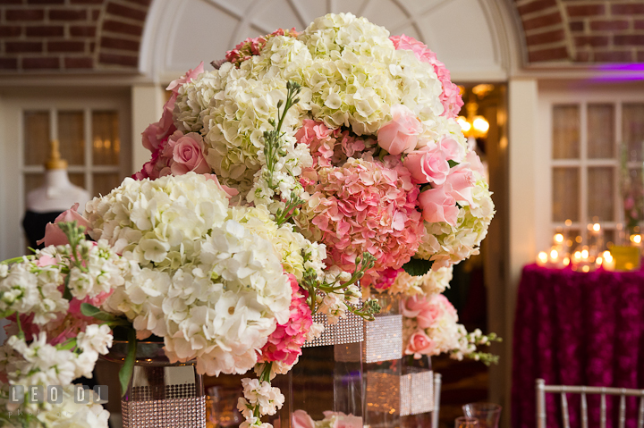 Large white and pink hydrangea flower and roses. Historic Inns of Annapolis wedding bridal fair photos at Calvert House by photographers of Leo Dj Photography. http://leodjphoto.com