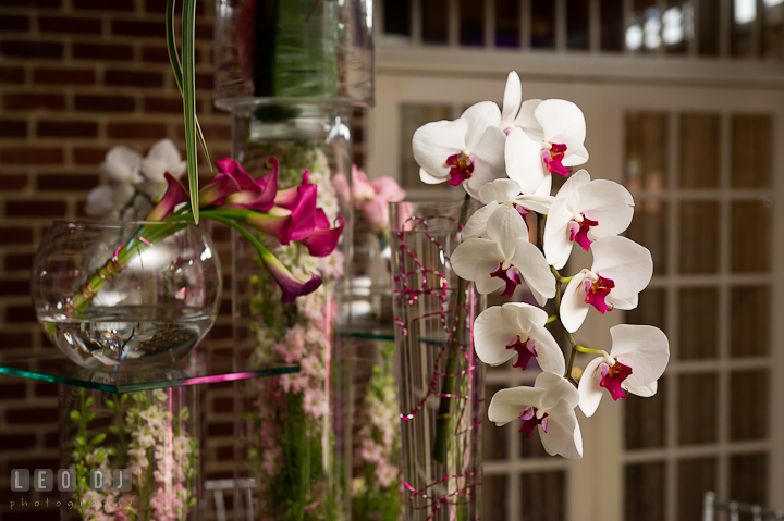 White and purple orchids with purple lilly flowers. Historic Inns of Annapolis wedding bridal fair photos at Calvert House by photographers of Leo Dj Photography. http://leodjphoto.com