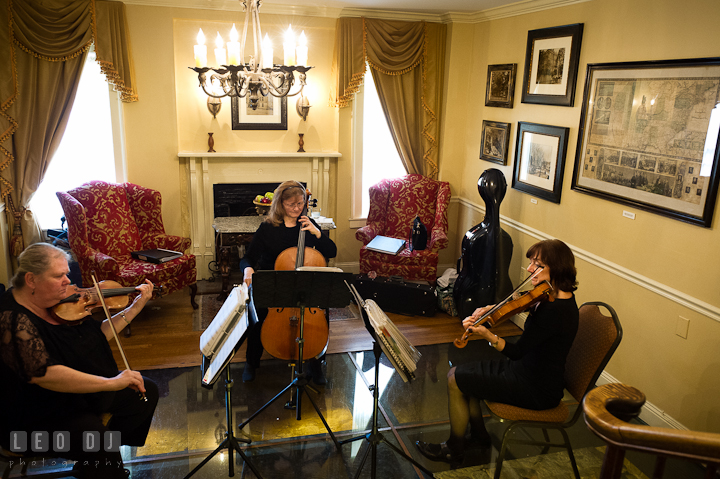 String trio playing music in the glass room. Historic Inns of Annapolis wedding bridal fair photos at Calvert House by photographers of Leo Dj Photography. http://leodjphoto.com