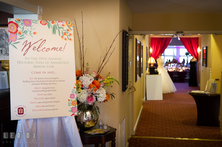 Entrance lobby and welcome sign. Historic Inns of Annapolis wedding bridal fair photos at Calvert House by photographers of Leo Dj Photography. http://leodjphoto.com