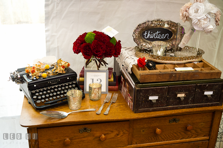 Old typewriter, silverware, and antique drawers from 2hands studios. Historic Inns of Annapolis wedding bridal fair photos at Calvert House by photographers of Leo Dj Photography. http://leodjphoto.com