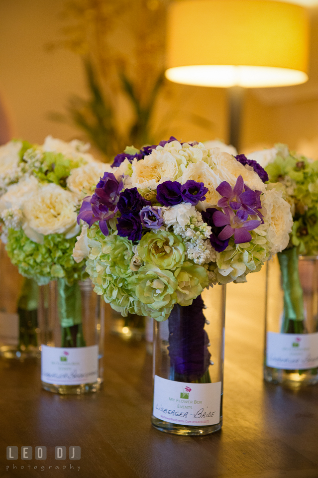 Wedding bouquets in vases by florist My Flower Box Events. Kent Island Maryland Chesapeake Bay Beach Club wedding photo, by wedding photographers of Leo Dj Photography. http://leodjphoto.com