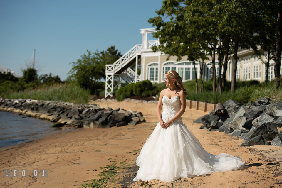 Bride on the beach waiting for Groom to come for their first look. Kent Island Maryland Chesapeake Bay Beach Club wedding photo, by wedding photographers of Leo Dj Photography. http://leodjphoto.com