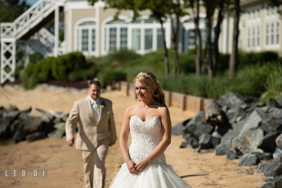Groom walking toward Bride during first glance. Kent Island Maryland Chesapeake Bay Beach Club wedding photo, by wedding photographers of Leo Dj Photography. http://leodjphoto.com