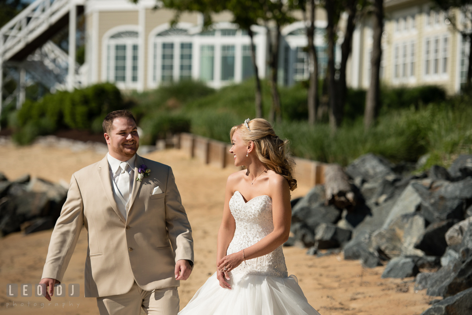 Bride and Groom seeing each other for the first time during first look. Kent Island Maryland Chesapeake Bay Beach Club wedding photo, by wedding photographers of Leo Dj Photography. http://leodjphoto.com