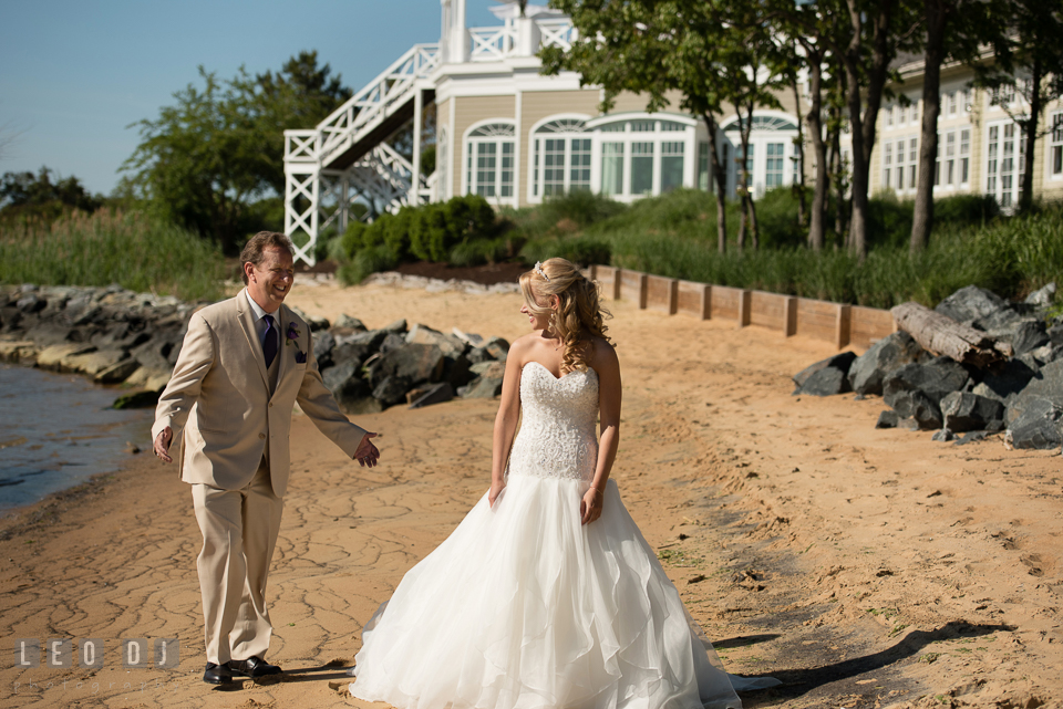 Father of the Bride seeing his daughter for the first time during their first look. Kent Island Maryland Chesapeake Bay Beach Club wedding photo, by wedding photographers of Leo Dj Photography. http://leodjphoto.com