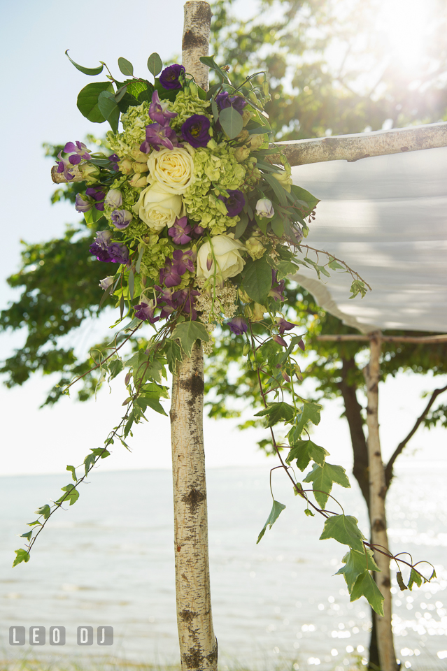 Flower arrangements by florists My Flower Box Events on the chuppah. Kent Island Maryland Chesapeake Bay Beach Club wedding photo, by wedding photographers of Leo Dj Photography. http://leodjphoto.com