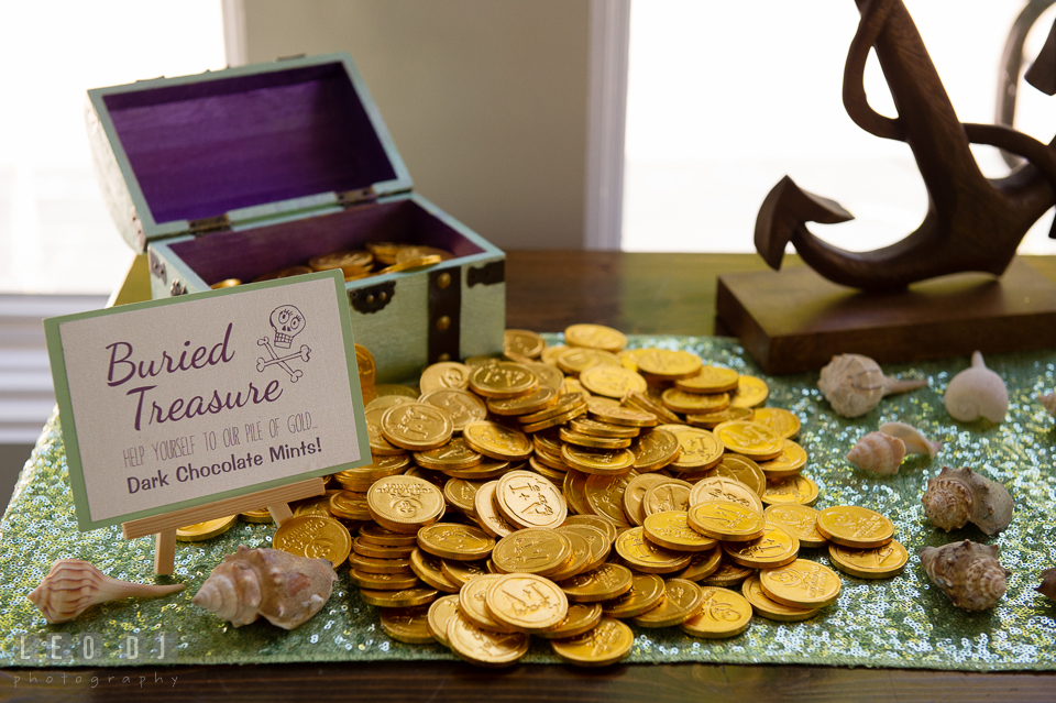 Custom engraved chocolate coins by Foiled Again Chocolates. Kent Island Maryland Chesapeake Bay Beach Club wedding photo, by wedding photographers of Leo Dj Photography. http://leodjphoto.com