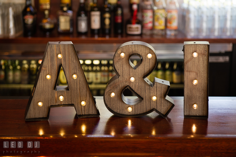 Bride and Groom's initial letters with lights. Kent Island Maryland Chesapeake Bay Beach Club wedding photo, by wedding photographers of Leo Dj Photography. http://leodjphoto.com