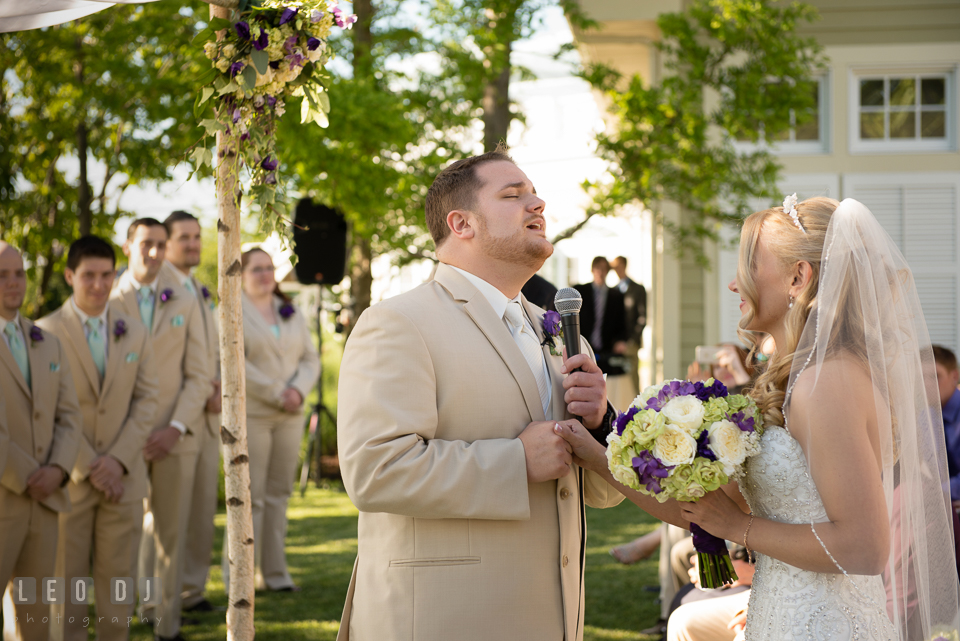 Groom singing Marry Me from Train during procession as Bride walked down the aisle escorted by Father. Kent Island Maryland Chesapeake Bay Beach Club wedding photo, by wedding photographers of Leo Dj Photography. http://leodjphoto.com