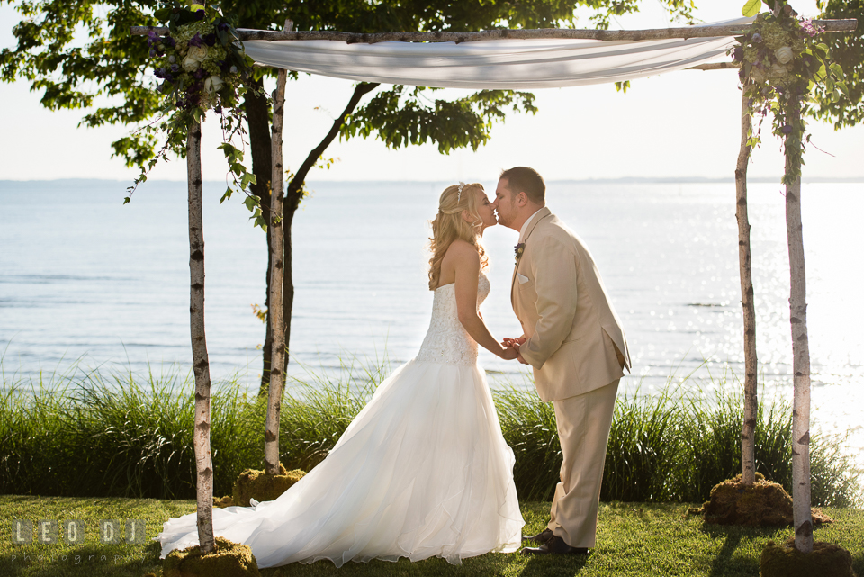 Bride And Groom Holding Hands Almost Kissing Under The Chuppah Kent Island Maryland Chesapeake Bay