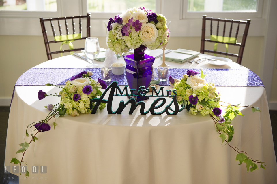 Lettering for the sweetheart table custom made by the Bride at Intersign National. Kent Island Maryland Chesapeake Bay Beach Club wedding photo, by wedding photographers of Leo Dj Photography. http://leodjphoto.com