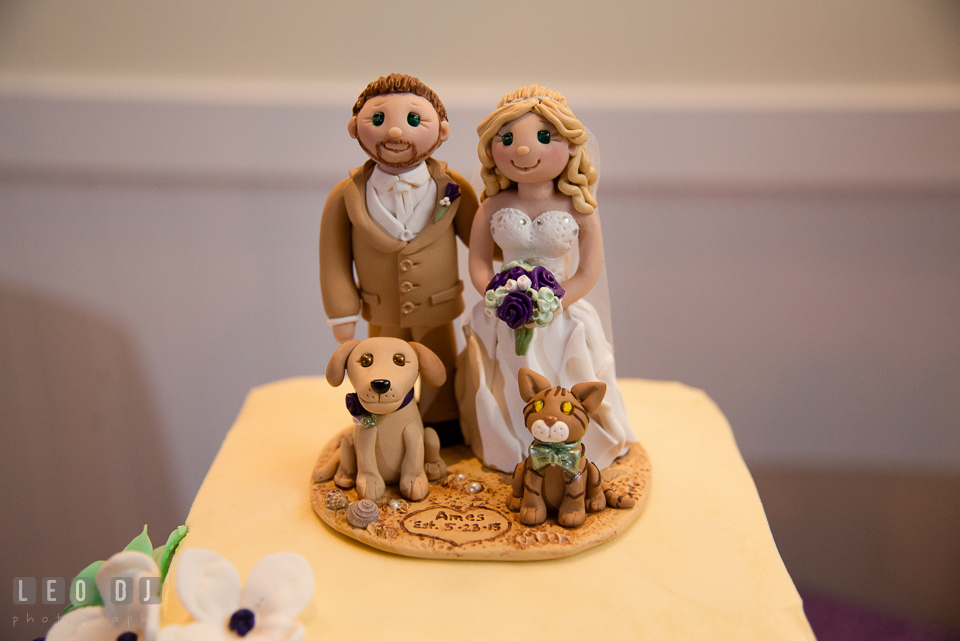 Custom made cake topper of Bride and Groom with their dog and cat from Trina's Clay Creations. Kent Island Maryland Chesapeake Bay Beach Club wedding photo, by wedding photographers of Leo Dj Photography. http://leodjphoto.com