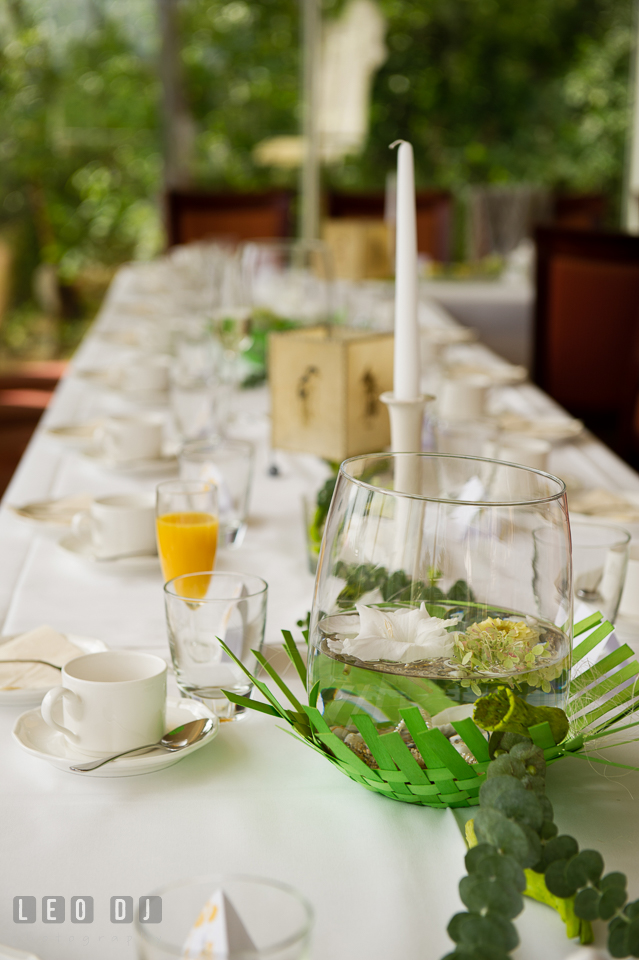 Table decors with flowers inside clear vase. Landgrafen Restaurant, Jena, Germany, wedding reception and ceremony photo, by wedding photographers of Leo Dj Photography. http://leodjphoto.com