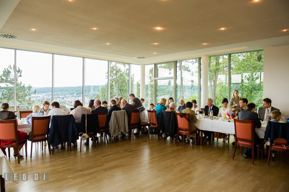 The dining hall with perfect view of the beautiful city of Jena. Landgrafen Restaurant, Jena, Germany, wedding reception and ceremony photo, by wedding photographers of Leo Dj Photography. http://leodjphoto.com
