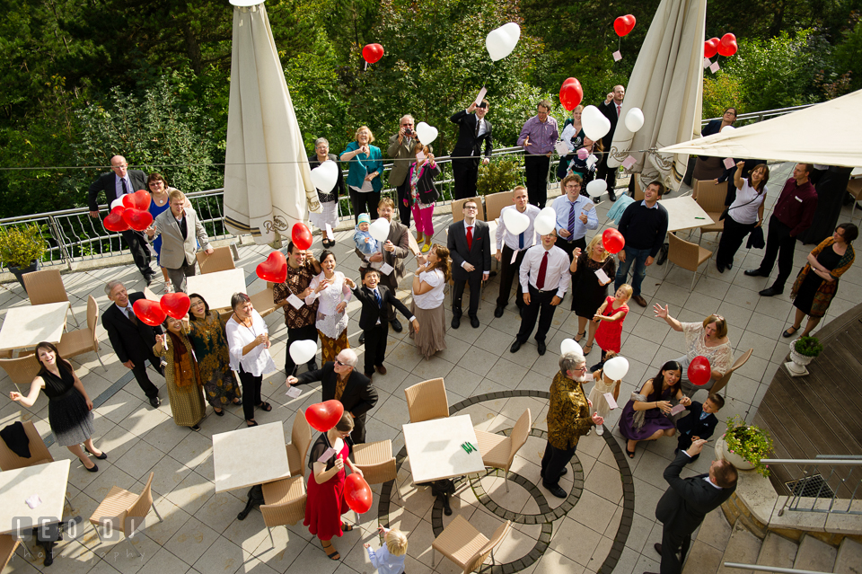 Guests released the balloons with written postcards attached for the newlywed couple. Landgrafen Restaurant, Jena, Germany, wedding reception and ceremony photo, by wedding photographers of Leo Dj Photography. http://leodjphoto.com