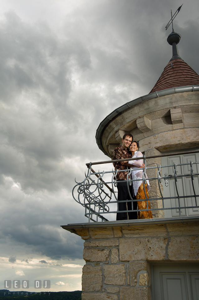 The Bride and Groom looking at the panorama of Jena. Landgrafen Restaurant, Jena, Germany, wedding reception and ceremony photo, by wedding photographers of Leo Dj Photography. http://leodjphoto.com