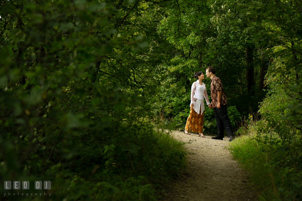 Bride and Groom in the woods almost kissing. Landgrafen Restaurant, Jena, Germany, wedding reception and ceremony photo, by wedding photographers of Leo Dj Photography. http://leodjphoto.com