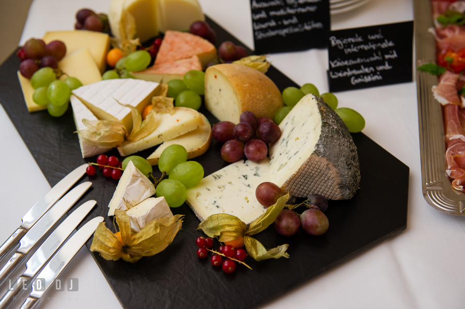 Sumptuous cheese platter served during the wedding reception. Landgrafen Restaurant, Jena, Germany, wedding reception and ceremony photo, by wedding photographers of Leo Dj Photography. http://leodjphoto.com