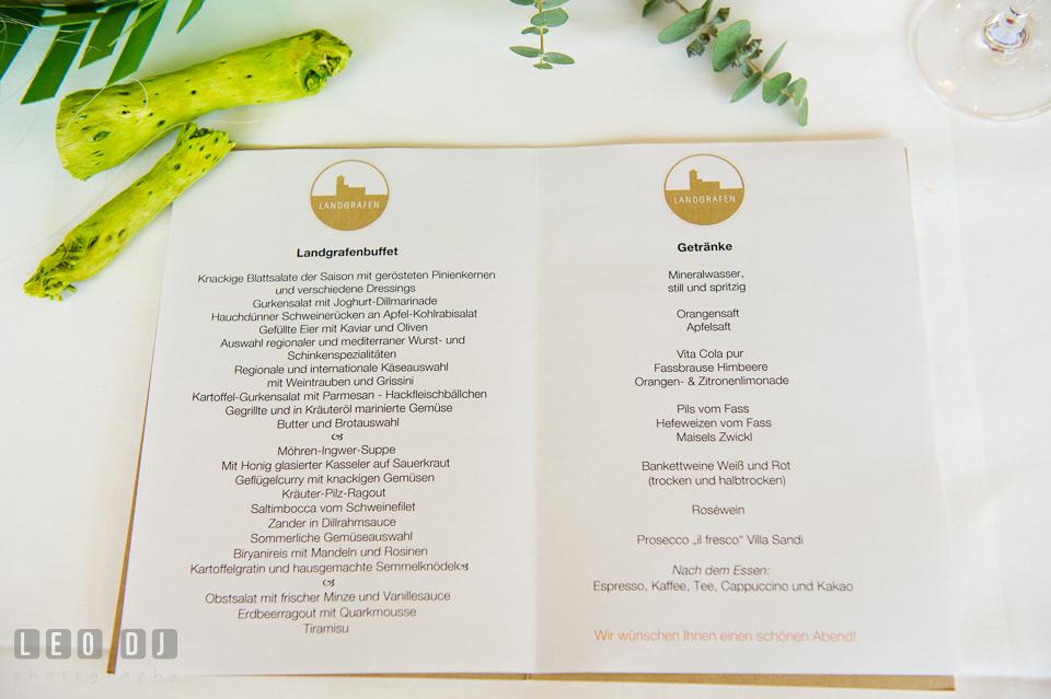 Menu served during the wedding reception. Landgrafen Restaurant, Jena, Germany, wedding reception and ceremony photo, by wedding photographers of Leo Dj Photography. http://leodjphoto.com