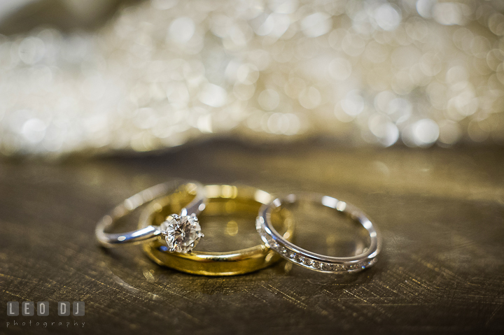 Bride's engagement and wedding ring, and Groom's wedding band. Historic Inns of Annapolis, Governor Calvert House wedding Maryland, by wedding photographers of Leo Dj Photography. http://leodjphoto.com
