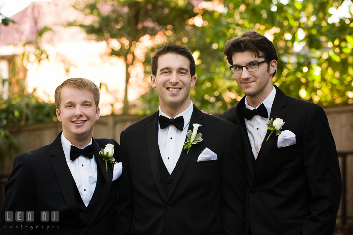 Group shot of Groom with Best Man and Groomsman. Historic Inns of Annapolis, Governor Calvert House wedding Maryland, by wedding photographers of Leo Dj Photography. http://leodjphoto.com