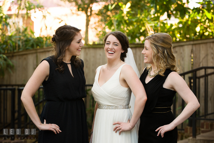 Group shot of Bride with Maid of Honor and Bridesmaid. Historic Inns of Annapolis, Governor Calvert House wedding Maryland, by wedding photographers of Leo Dj Photography. http://leodjphoto.com