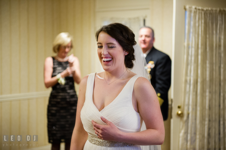 Bride ready with wedding gown anxiously waiting to meet her uncle. Historic Inns of Annapolis, Governor Calvert House wedding Maryland, by wedding photographers of Leo Dj Photography. http://leodjphoto.com