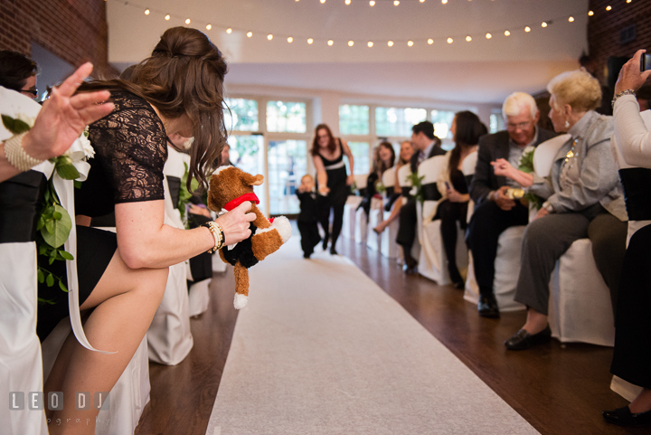 Mother of Ringbearer took out plush toy dog to make her son walk down the aisle. Historic Inns of Annapolis, Governor Calvert House wedding Maryland, by wedding photographers of Leo Dj Photography. http://leodjphoto.com