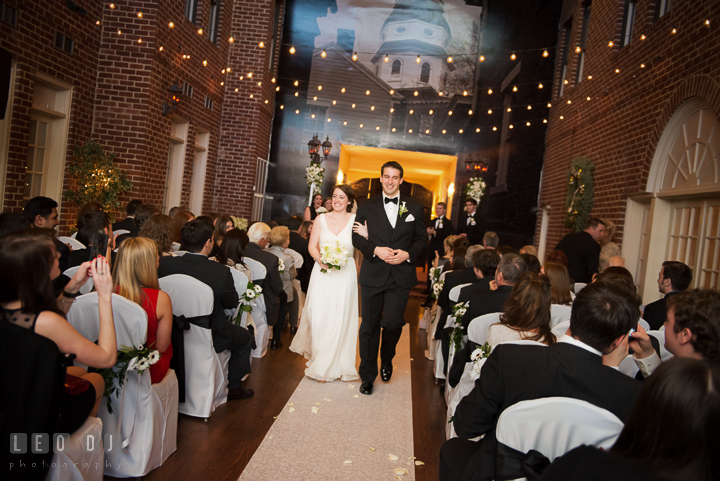 Bride and Groom walking out of the aisle during recessional ceremony. Historic Inns of Annapolis, Governor Calvert House wedding Maryland, by wedding photographers of Leo Dj Photography. http://leodjphoto.com
